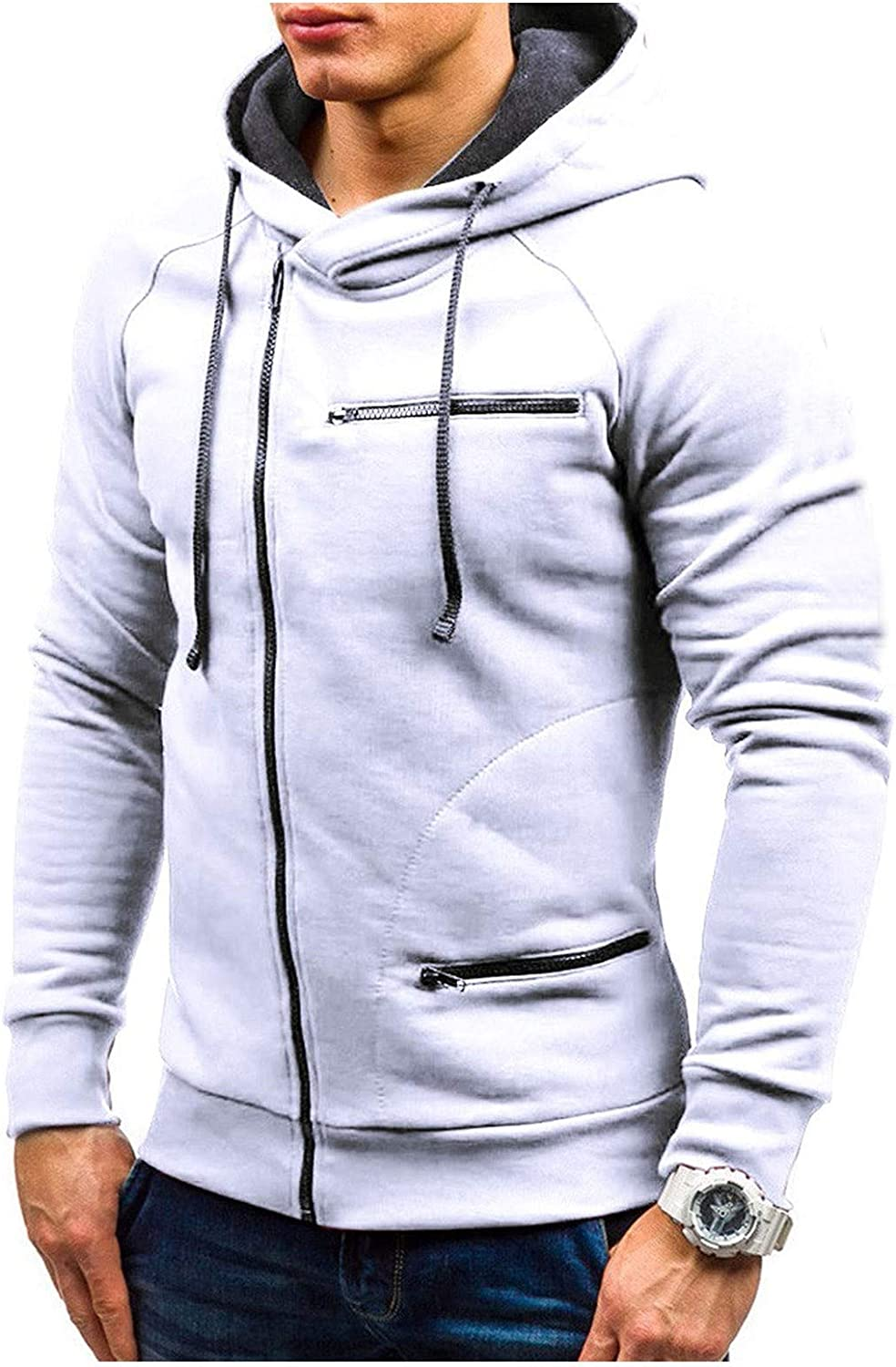 XXBR Men's Zipper Hoodies, Fall Fashion Patchwork Drawstring Hooded Sweatshirts Workout Sports Casual Pullover Tops