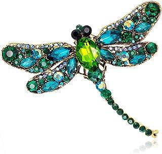Gankmachine Rhinestone de la libélula Broche Animal de la Broche Mujeres se Visten de la Bufanda Broche Verde