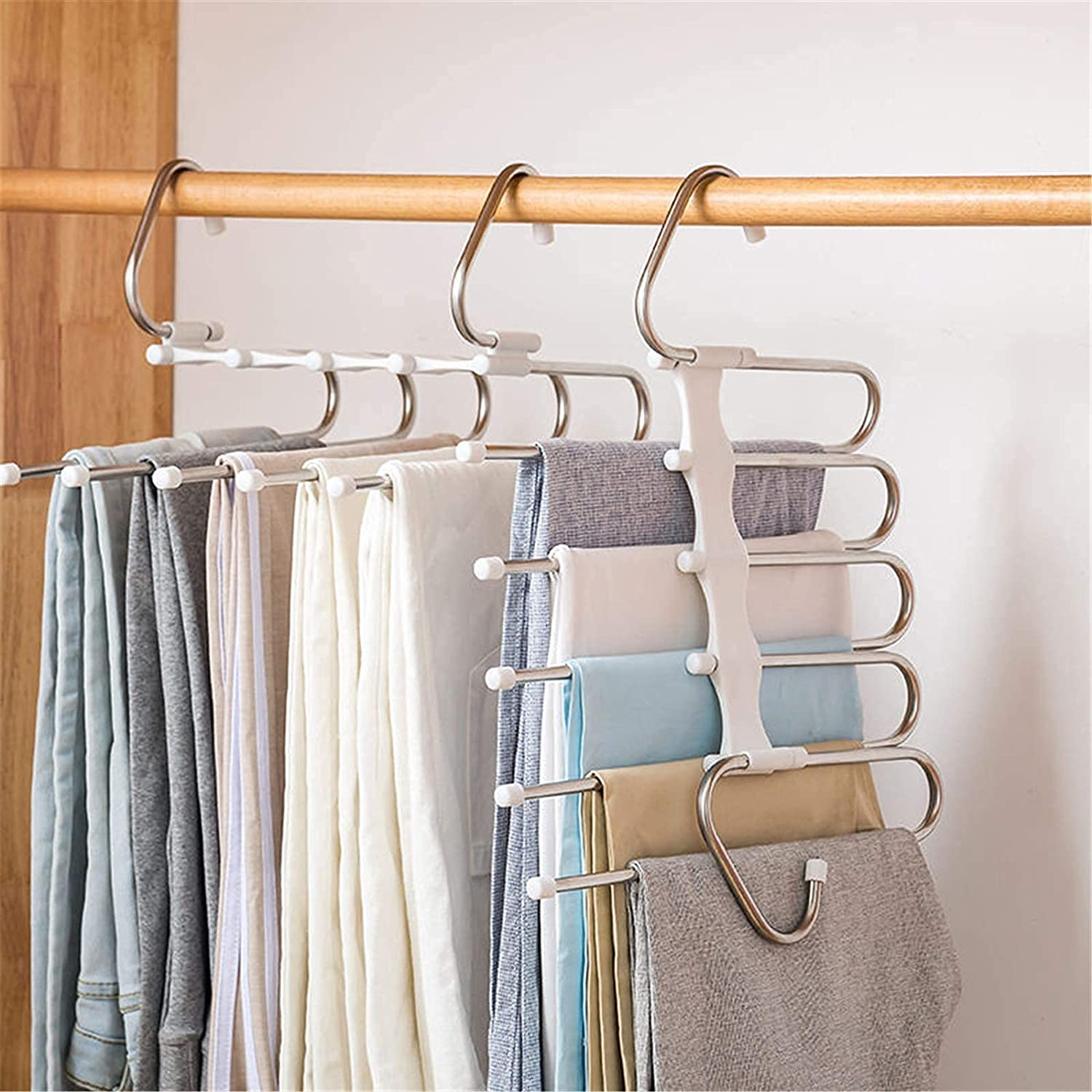 2 Safety and trust Pack Pants Hangers 5 Layers Space C online shopping Rack Non-Slip Saving