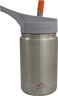 EcoVessel Scout Kids Stainless Steel Water Bottle with Sport Flip Spout and Silicone Straw, 13 oz, Silver Express