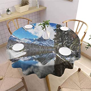 Luoiaax Winter 3D Printed Round Tablecloth Tranquil View of Glacier National Park in Montana Water Reflection Peaceful Desktop Protection pad D35 Inch Round Brown Blue White