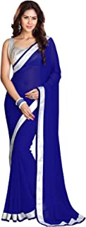 Best royal blue saree with silver blouse Reviews