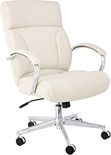 Amazon Basics Modern Executive Chair, 275lb Capacity with Oversized Seat Cushion, Ivory Bonded Leather