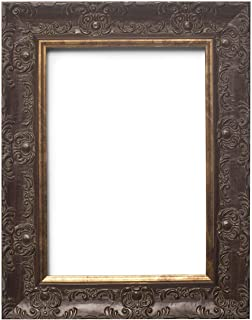 Paintings Frames Wide Ornate Shabby Chic Antique Swept/Muse Picture/Photo/Poster Frame with an MDF Backing Board Ready to Hang-with Styrene Shatterproof Perspex Sheet - A4 Walnut