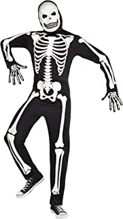 Party City Glow-in-The-Dark X-Ray Skeleton Halloween Costume for Adults, Standard, with Accessories