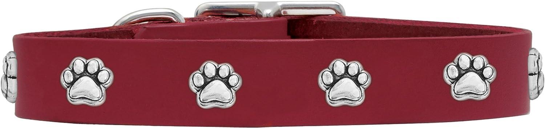 Rockin' doggie Paw Rivet Veg Leather Dog Collar, 3 4 by 12Inch, Red