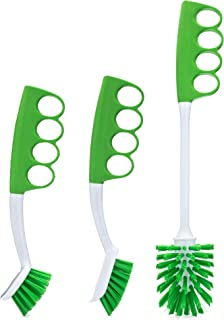Brolly Grout Brush, Dish Brush, and Bottle Brush with Unique, Cushioned Grip (3-Pack)
