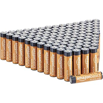AmazonBasics 100 Pack AAA High-Performance Alkaline Batteries, 10-Year Shelf Life, Easy to Open Value Pack