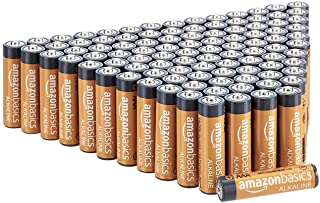 AmazonBasics 100-Count AAA High-Performance Alkaline Batteries, 10-Year Shelf Life, Easy to Open Value Pack