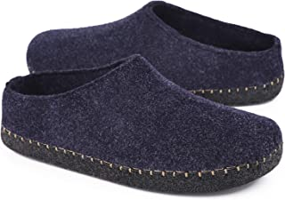 HomeTop Men's Comfy Faux Wool Felt House Slippers Closed Back Fleece Clog Style Shoes with Anti-Slip Rubber Sole