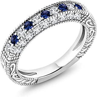 1.00 Ct Blue and White Created Sapphire 925 Sterling Silver Wedding Band Ring (Available 5,6,7,8,9)