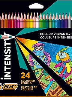 BIC Intensity Crayons de couleur Triangulaires Pointe 1,3 mm Sans Bois, en résine Résistants aux Chocs - Couleurs Assortie...
