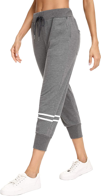 100/% Coton Confortable et l/éger pour Sport Yoga et Fitness S-XXL Aibrou Femme Pantalon de Sport Pantalon d/écontract/é Pantalon de Jogging