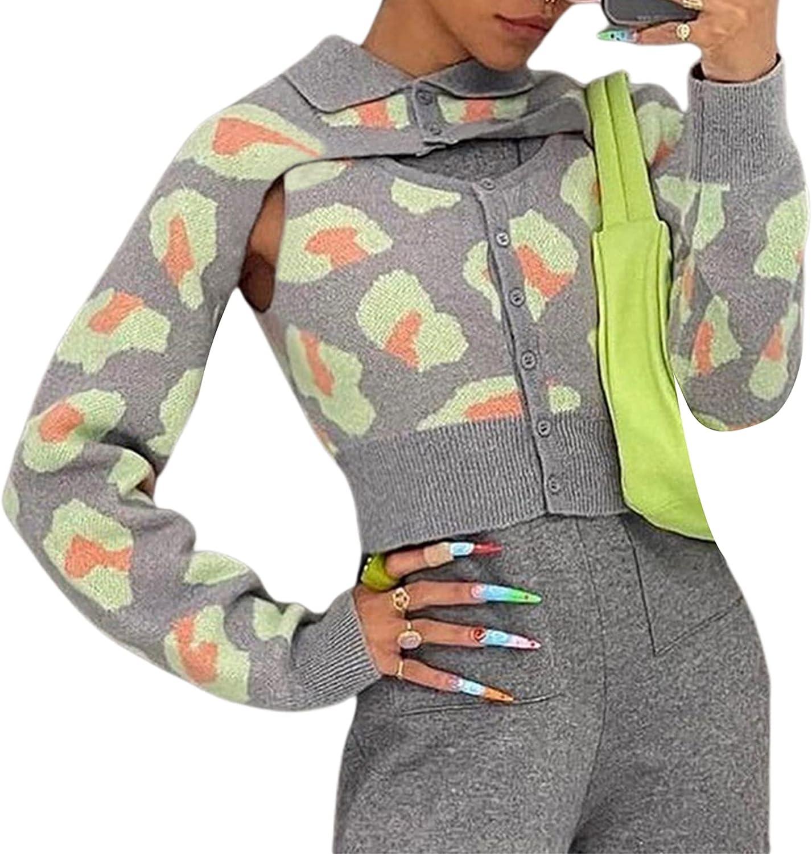 Y2K Knit Shrug Tank Top Set Women Tie Dye Printed Long Sleeve Cropped Sweater Autumn Fashion Knitted Cardigan
