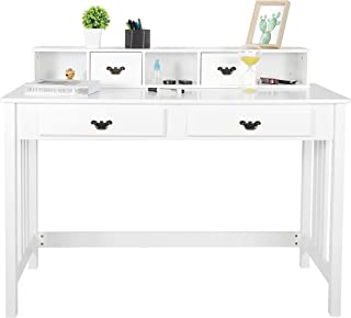 ZENY Writing Desk Computer Desk Home Office Furniture Student Desk Vanity Table with Detachable Hutch Spacious Workstation with Drawers