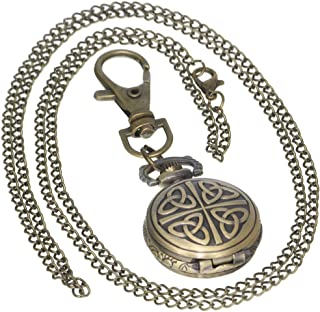 Bronze Vintage Brass Antique Case Pocket Watch Fob Watch for Men Women with 1 PC Necklace Chain 1 PC Key Clip
