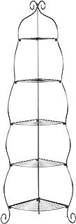Scrolled Corner Etagere - 5 Open Shelves - Durable Wrought Iron Metal Black Frame