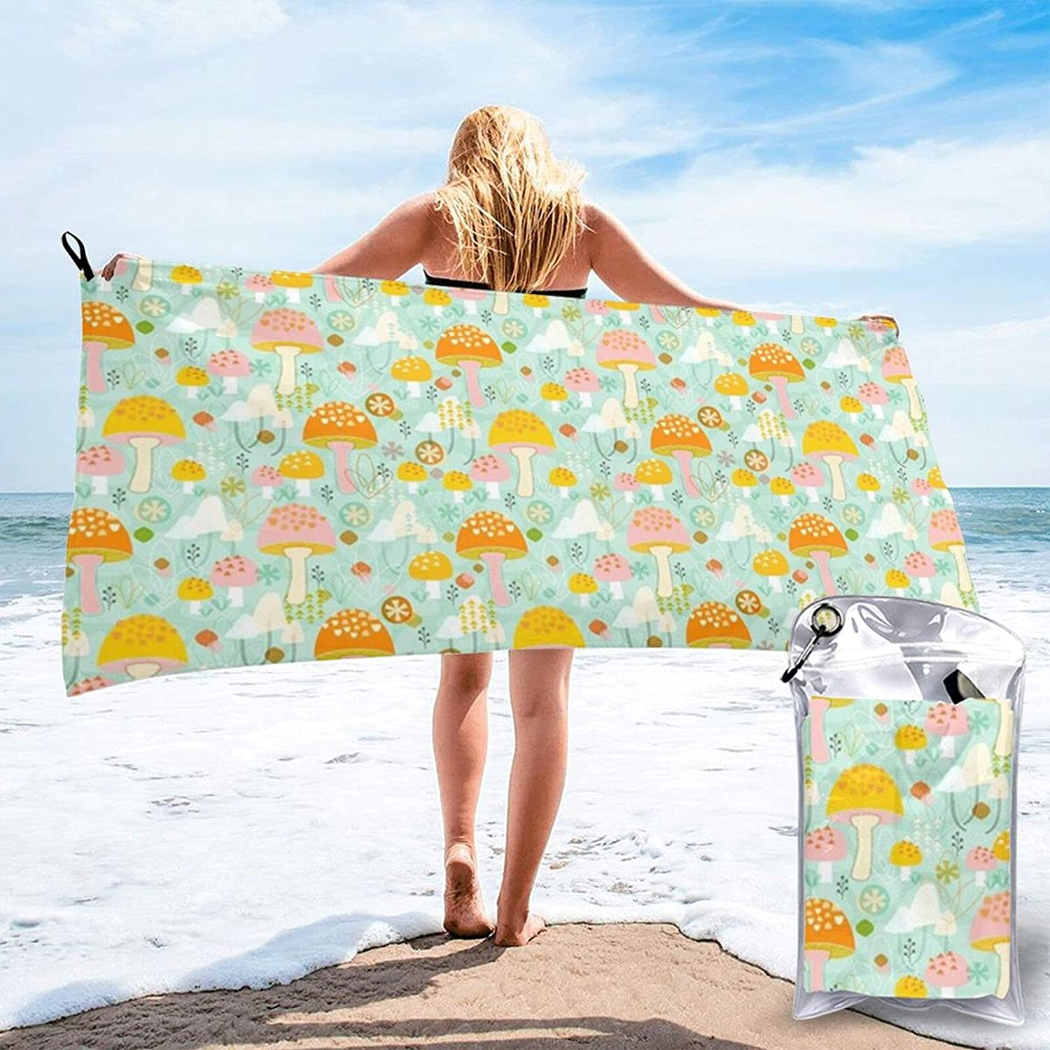 N\\A Los Angeles Mall Magnificent Mushrooms Beach Towel Absorpt Bath Water Limited price Towels