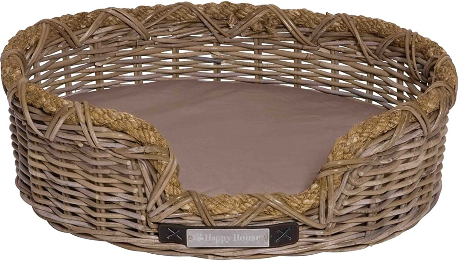 HappyHouse Oval Rattan Basket with Rope, Small