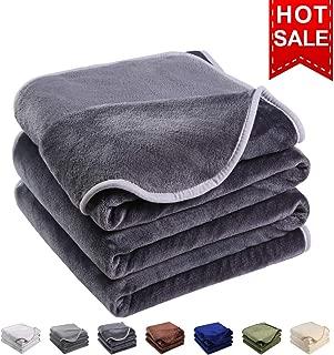EMONIA Luxury Fleece Blanket,330GSM - Queen Size Blankets Super Soft Warm Fuzzy Lightweight Bed & Couch Blanket(Dark Grey,90 x 90 inch)