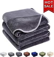 EMONIA Luxury Fleece Blanket,330GSM - King Size Blankets Super Soft Warm Fuzzy Lightweight Bed & Couch Blanket(Dark Grey,90 x 108 inch)