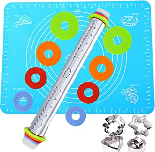 Rolling Pin Bakery with Thickness Rings Set Stainless Steel Adjustable Dough Roller &Silicone Mat with Measurements&12 Cookie Biscuit Cutters Molds Set for Baking Dough, Pizza, Pie, Pastries