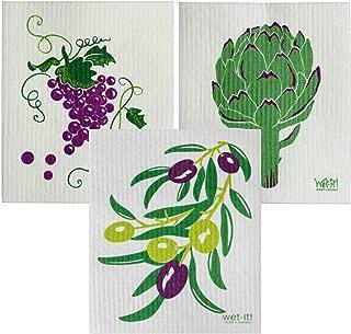 Wet-It Swedish Dishcloth Set of 3 - Grapes, Artichoke, Olives - New