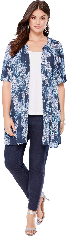 Roaman's Women's Plus Size Short-Sleeve Angelina Tunic Long Button Front Shirt