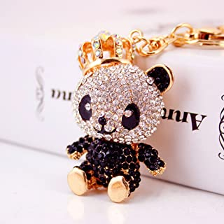 Jzcky Shzrp Lovely Crown Panda Crystal Rhinestone Keychain Key Chain Sparkling Key Ring Charm Purse Pendant Handbag Bag Decoration Holiday Gift(Black)