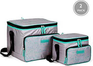 OUTBOUND Soft Cooler | Portable 2-Piece Insulated Large 24 Can, and Small Lunch 6 Can Cooler for Beach, Camping, and Outdoors | Collapsible, Gray