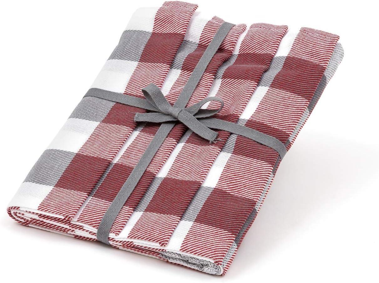 50 x 70 cm absorbentes Zestri Juego de 4 pa/ños de cocina 100/% algod/ón color rojo a cuadros fabricados en la UE