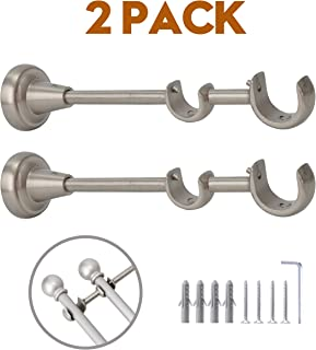 AddGrace 2 Pack Double Curtain Rod Bracket Stainless Steel Wall Mounted Rod Holder with Screws for 4/5