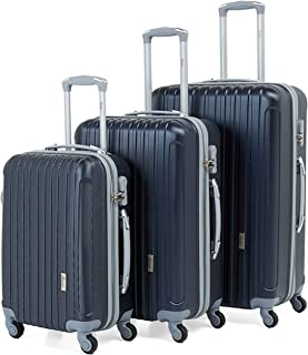 Senator Hard side 3-piece Suitcase on Wheels, Ultra Lightweight with Spinner Wheels 4, (Set of 3 (20/24/28), Navy Blue)