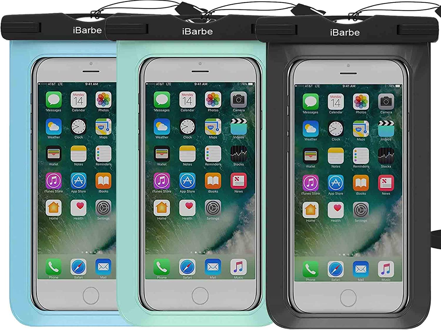 Waterproof Case,3 Pack Universal Cell Phone Dry Bag Pouch Underwater Compatible with iPhone X XR XS MAX 8 Plus 7 7 Plus 6S 6 6S Plus SE Galaxy Note s9 s8 LUS S7 S6 Edge etc.to 5.7 inch,black+blue+teal