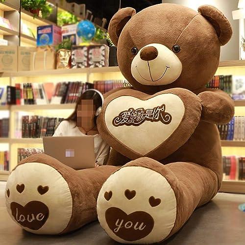 ventas calientes Teddy Bear Kids Suave Felpa Peluches Regaño Regaño Regaño De San Valentín Gigante Niño Grande Juguetes muñecos Peluches marrón-80cm  descuento online