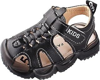 Chaussures Premiers Pas bébé de Été,Sandales Bout Fermé en Cuir Souple pour Enfant Fille,Chaussures Bébé Beach Sandals Ath...