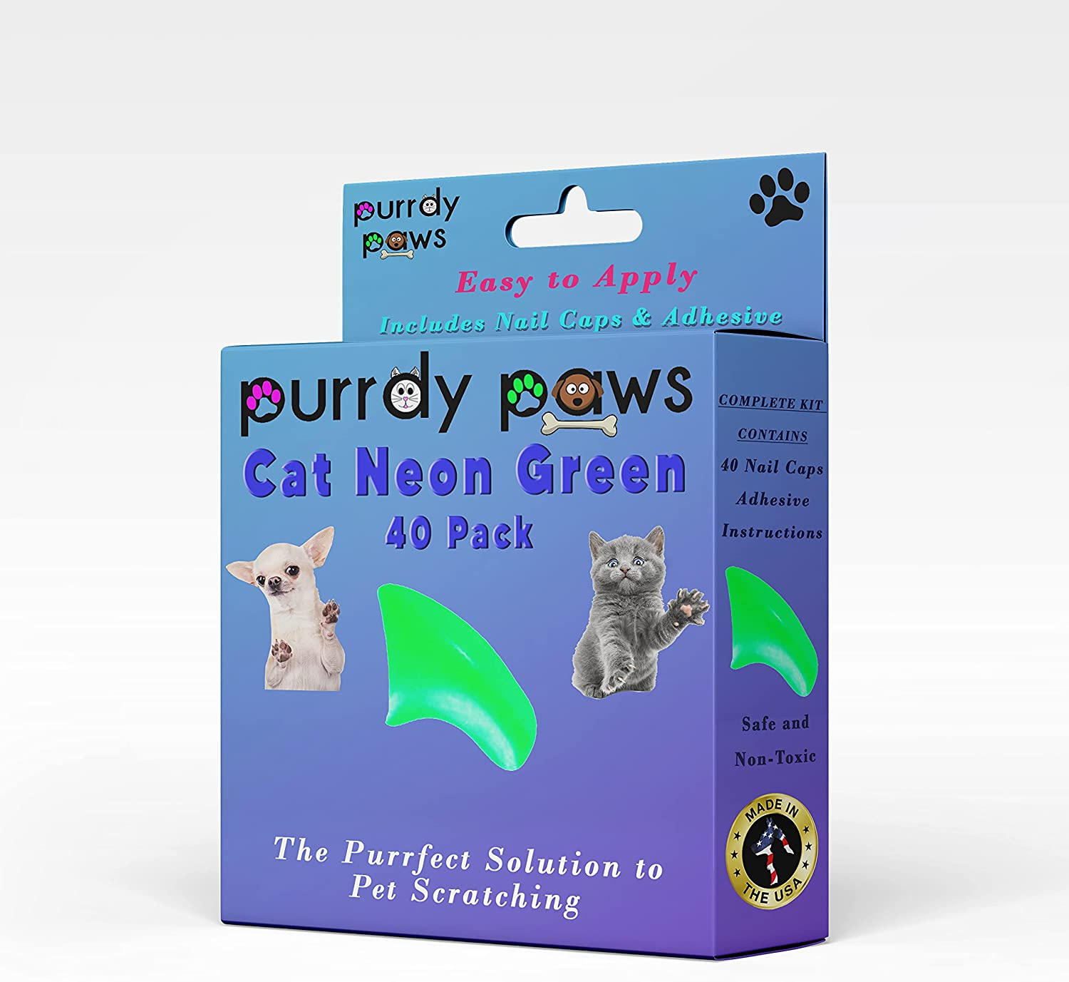 Seattle Mall Purrdy Paws 40-Pack Soft Nail New arrival Caps Claws Cat Green for NEON