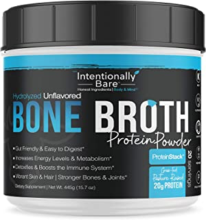 Pure Bone Broth Protein Powder - 20 Grams Protein - Supports Keto & Paleo Diets - Collagen Types 1, 2 & 3 - from Grass-Fed...