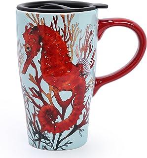 (Hippocampus) - Minigift Ceramic Cup Travel Coffee Mug 500ml (4 Designs for choice-Hippocampus)