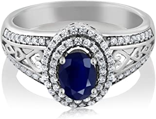 Gem Stone King Blue Sapphire 925 Sterling Silver Gemstone Birthstone Women's Ring 1.41 cttw, Center Stone: 6x4mm (Available 5,6,7,8,9)