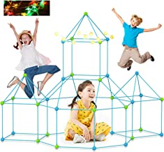 Fort Building Kits 120 Pcs Kids Construction Fort Play Tent with 10 Star Lights Fort Kit Fun STEM Toys Flexible Constructi...