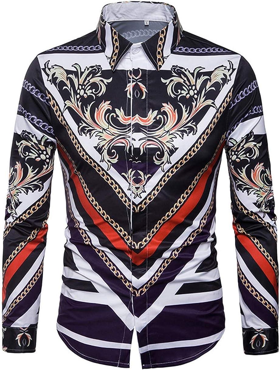 Men's Large Size Shirt Fashion Casual Classic Color Matching Print Pattern Long Sleeve Simple Wild Shirt Shirt