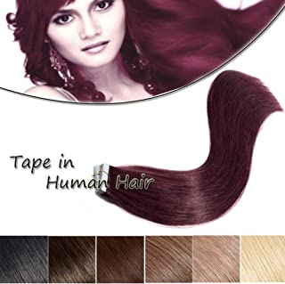 Seamless Remy Tape in Hair Extensions Wine Red Real Human Hair 18 inch Straight Professional Tape on Skin Weft Hair Extensions (18'',50g/20Pcs,#99J)+10pcs Free Tapes