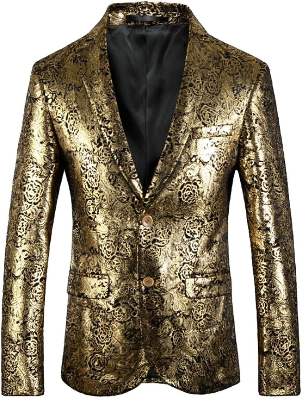 Suncolor8 Men 2 Buttons Floral Dress Suit Slim Wedding Blazer Jacket Prom Tuxedo