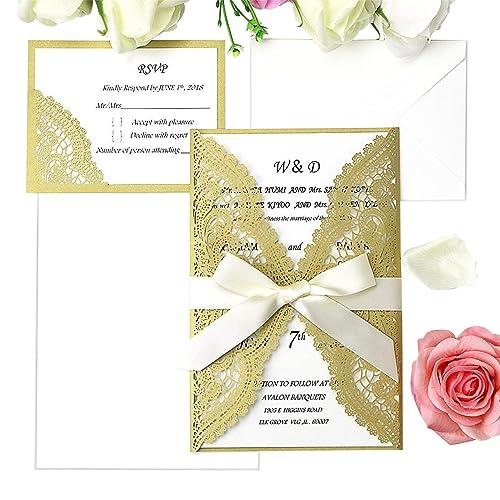 Wedding Invitations With Rsvp Cards Amazon Com