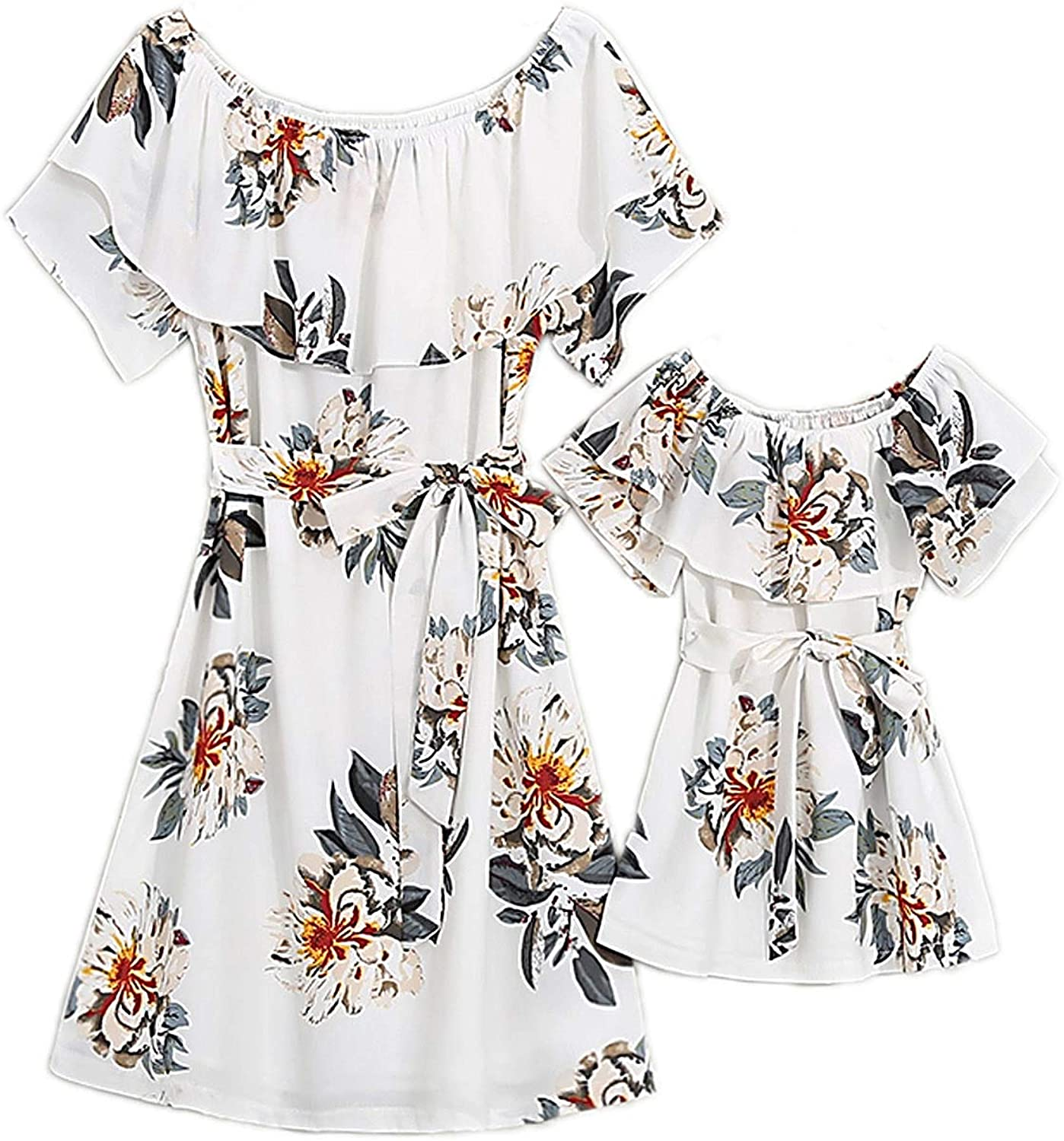 PopReal Mommy and Me Dresses Chiffon Max 51% OFF low-pricing Bowknot Floral Printed Ruff