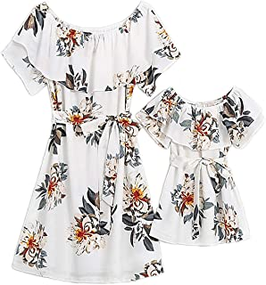 PopReal Mommy and Me Dresses Floral Printed Chiffon Bowknot Ruffles Short Sleeve Beach Family Matching Outfits