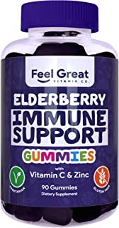 Sponsored Ad - Elderberry Gummies by Feel Great 365 (90 Gummies) for Adult & Kids with Immune Support* | Gluten Free Plant...
