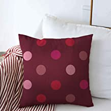 Decorative Square Throw Pillow Covers Love Album Pink Hot Red Polka Dots Valentines On Dark for Wedding Abstract Baby Vintage Cushion Case for Sofa Bedroom Car 16 x 16 Inch