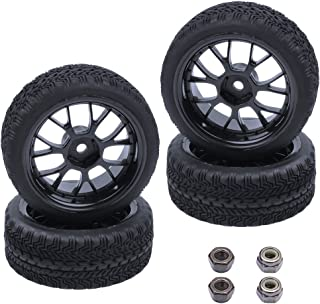 Hobbypark (4-Pack) Rubber Tires & Wheels 12mm Hex Drive Hub for 1/10th Scale RC Touring Car